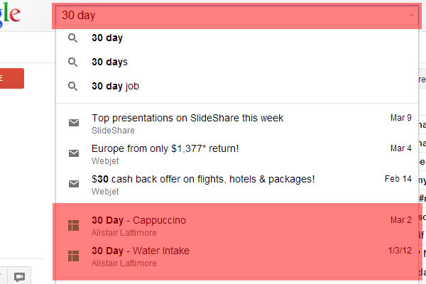 Gmail Search Field Trial: 30 Day Search